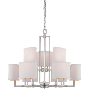Gemini Brushed Nickel Nine-Light Chandelier w/Slate Gray Fabric Shades