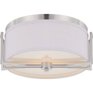 Gemini Brushed Nickel Two-Light Flush Dome Fixture w/Slate Gray Fabric Shade