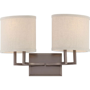 Gemini Hazel Bronze Two-Light Vanity Fixture w/Khaki Fabric Shades