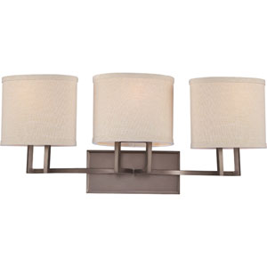Gemini Hazel Bronze Three-Light Vanity Fixture w/Khaki Fabric Shades