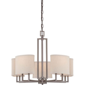 Gemini Hazel Bronze Five-Light Chandelier w/Khaki Fabric Shades