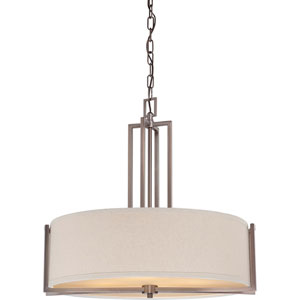 Gemini Hazel Bronze Four-Light Pendant w/Khaki Fabric Shade