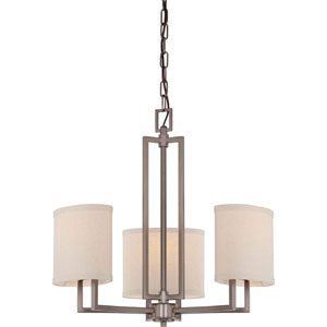 Gemini Hazel Bronze Three-Light Chandelier w/Khaki Fabric Shades