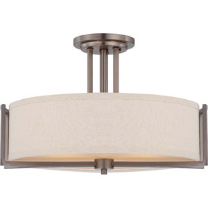 Gemini Hazel Bronze Three-Light Semi Flush Fixture w/Khaki Fabric Shade