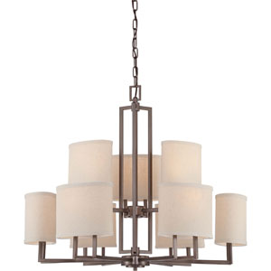 Gemini Hazel Bronze Nine-Light Chandelier w/Khaki Fabric Shades