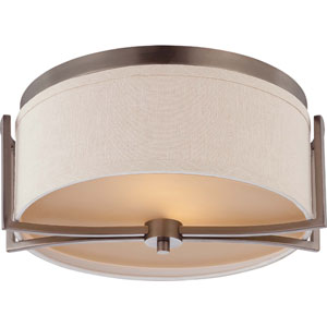Gemini Hazel Bronze Two-Light Flush Dome Fixture w/Khaki Fabric Shade