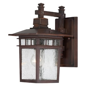 Cove Neck Rustic Bronze One-Light 14-Inch High Outdoor Wall Lantern with Clear Seeded Glass