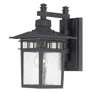 Cove Neck Textured Black One-Light 14-Inch High Outdoor Wall Lantern with Clear Seeded Glass