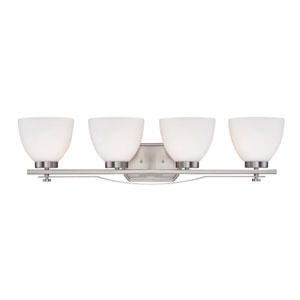 Bentlley Brushed Nickel Four-Light Vanity Fixture w/ Frosted Glass Shades