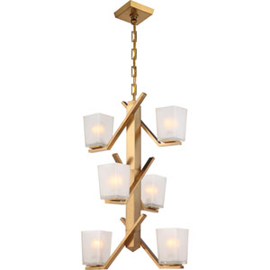 Timone Vintage Brass Six-Light Mini Chandelier