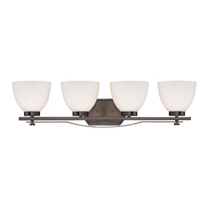 Bentlley Hazel Bronze Four-Light Vanity Fixture w/ Frosted Glass Shades