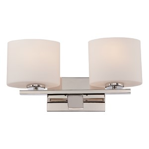 Breeze Polished Nickel Two-Light Bath Vanity with Etched Opal Glass