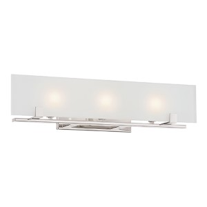 Lynne Polished Nickel Three-Light Bath Vanity with Frosted Glass