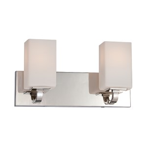 Vista Polished Nickel Two-Light Bath Vanity with Etched Opal Glass