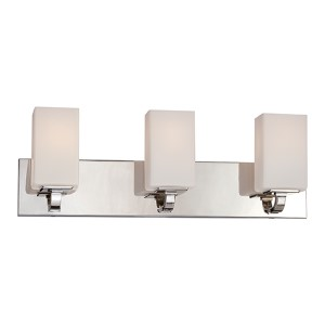 Vista Polished Nickel Three-Light Bath Vanity with Etched Opal Glass