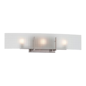Yogi Brushed Nickel Three-Light Bath Vanity with Frosted Glass