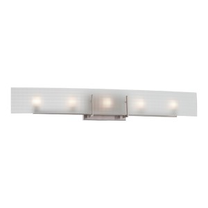Yogi Brushed Nickel Five-Light Bath Vanity with Frosted Glass