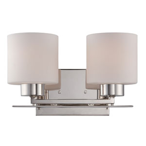 Parallel Polished Nickel Two Light Vanity Fixture with Etched Opal Glass