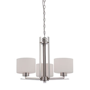 Parallel Polished Nickel Three Light Chandelier with Etched Opal Glass