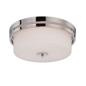 Parallel Polished Nickel Three Light Flush Mount Fixture with Satin White Glass