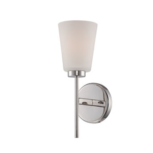 Benson Polished Nickel One Light Vanity Fixture with Satin White Glass