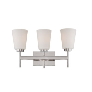 Benson Polished Nickel Three Light Vanity Fixture with Satin White Glass