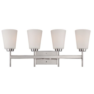 Benson Polished Nickel Four Light Vanity Fixture with Satin White Glass