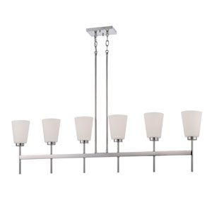 Benson Polished Nickel Six Light Pendant with Satin White Glass