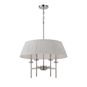 Benson Polished Nickel Four Light Pendant with White Linen Fabric