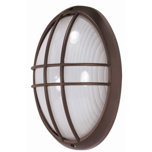 Architectural Bronze One-Light Outdoor Wall Mount with Frosted Glass Diffuser