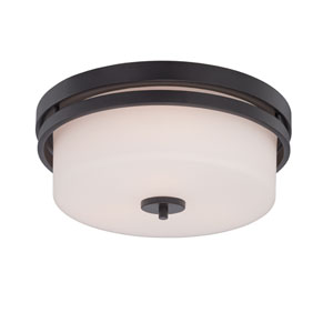 Parallel Aged Bronze Three Light Flush Mount Fixture with Satin White Glass