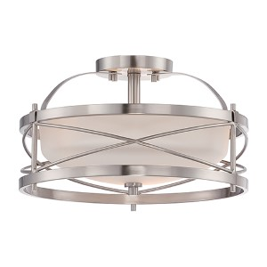 Ginger Brushed Nickel Two-Light Semi-Flush with Etched Opal Glass