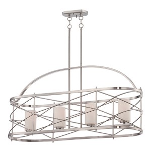 Ginger Brushed Nickel Four-Light Island Pendant with Etched Opal Glass