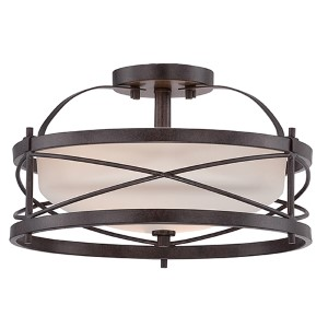 Ginger Old Bronze Two-Light Semi-Flush with Etched Opal Glass