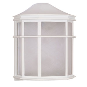 White One-Light Outdoor Wall Mount with White Acrylic Diffuser