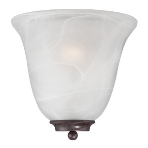Empire Old Bronze One-Light Wall Sconce with Alabaster Glass