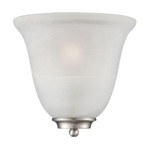 Empire Brushed Nickel One-Light Wall Sconce with Alabaster Glass