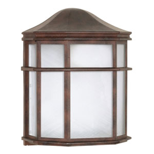 Old Bronze One-Light Outdoor Wall Mount with White Acrylic Diffuser
