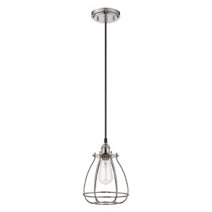 Vintage Polished Nickel One-Light 7-Inch Wide Caged Mini Pendant