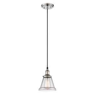 Vintage Polished Nickel One-Light 7-Inch Wide Dome Mini Pendant with Cone Shaped Clear Glass