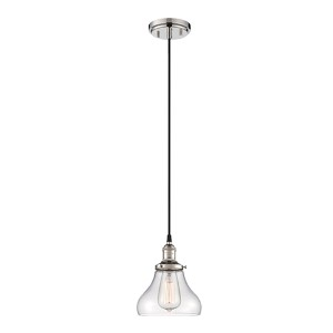 Vintage Polished Nickel One-Light 7-Inch Wide Dome Mini Pendant with Bell Shaped Clear Glass