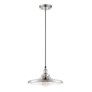 Vintage Polished Nickel One-Light 14-Inch Wide Dome Pendant with Curved Metal Shade
