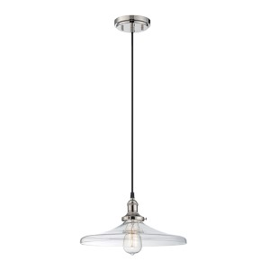 Vintage Polished Nickel One-Light 14-Inch Wide Dome Pendant with Curved Clear Glass