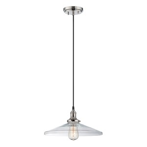 Vintage Polished Nickel One-Light 14-Inch Wide Dome Pendant with Cone Shaped Clear Glass