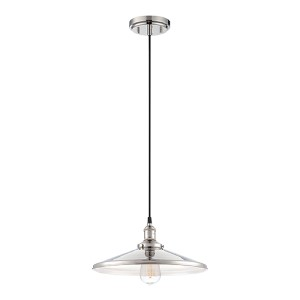 Vintage Polished Nickel One-Light 14-Inch Wide Dome Pendant with Cone Shaped Metal Shade