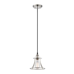 Vintage Polished Nickel One-Light 8-Inch Wide Caged Dome Mini Pendant