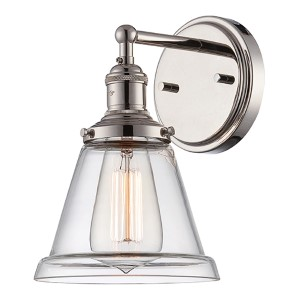 Vintage Polished Nickel One-Light 7-Inch Wide Wall Sconce with Cone Shaped Clear Glass