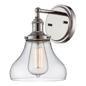 Vintage Polished Nickel One-Light 7-Inch Wide Wall Sconce with Bell Shaped Clear Glass