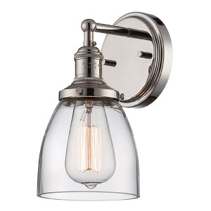 Vintage Polished Nickel One-Light 5-Inch Wide Wall Sconce with Clear Glass