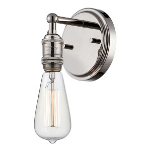 Vintage Polished Nickel One-Light 5-Inch Wide Wall Sconce